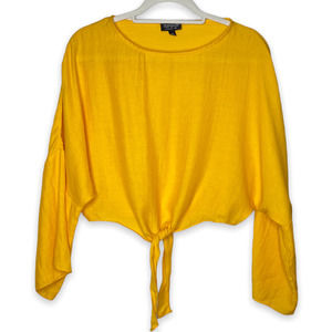 Topshop Yellow Tie Long Sleeve Crop Shirt 2